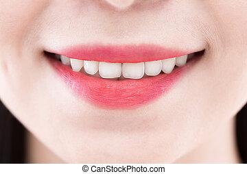 fim, mulher, cima, dente