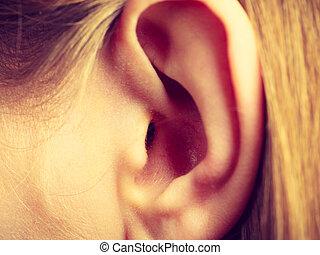 fim, mulher, orelha, cima