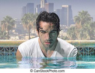 fim, piscina, homem