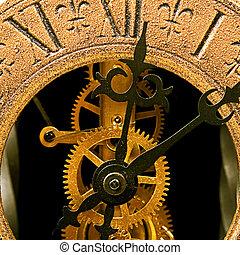 fim, relógio, antigas, cima, vista
