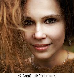 fim, retrato, de, sensual, cute, mulher