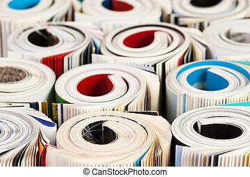 fim, revistas, cima, coloridos