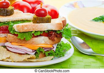 fim, sanduíche, cima