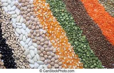fim, Sementes, Vário, cima, grãos