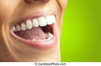 fim, sorrindo, cima, dentes
