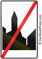 fin, área, -, urbanizado, señal, regulatory, camino, belga...