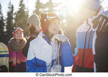 fin, affectueux, couple, haut, snowboarders