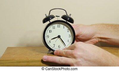 fin, ajustement, heure, horloge, une, dos, dst
