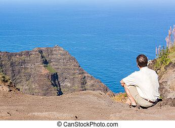 fin, au-dessus, na, côte, pali, piste, kauai, awaawapuhi, falaise