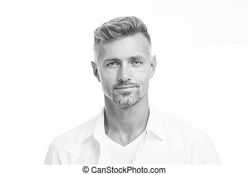 fin, beauty., concept., glance., magasin, hairdresser., bon, coiffeur, regarder naturel, soigné, mâle, facial, séduisant, haut, ageing., espèce, model., hair., beau, anti, homme, mûrir, puits, appareil photo