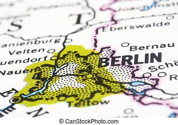 fin, berlin, allemagne, haut, carte