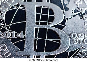 fin, bitcoin, monnaie, haut, argent