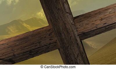 fin, bois, clous, -, zoom, croix, appareil photo, deux,...
