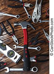 fin, bois, haut, arrière-plan., outils