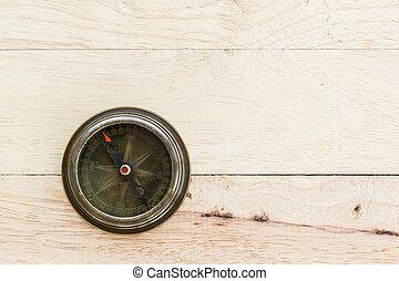 fin, bois, vieux, haut, compas