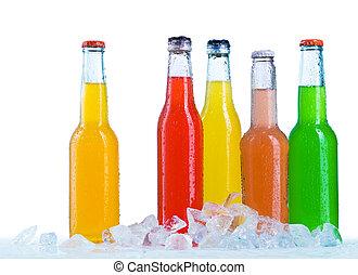 fin, bouteilles, haut, vue