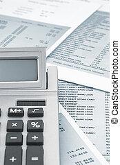 fin, calculatrice, banque, haut, déclaration