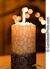 fin, candle., haut, vue