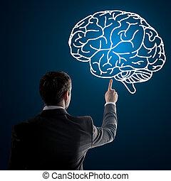 fin, cerveau, haut, pointage, homme affaires