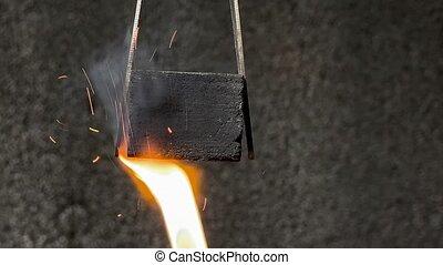fin, charbon de bois, carrée, haut, noix coco, tir