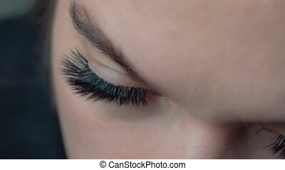 fin, cil, haut., oeil femme, extension, long, procedure., eyelashes.