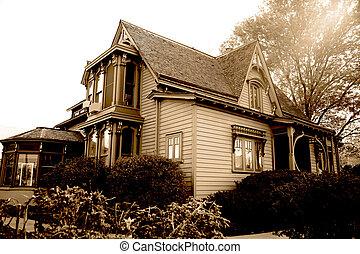 fin, classique, siècle, 19, américain, maison