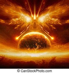 fin, complet, terre planète, mondiale, destruction