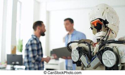 fin, construction, robot, bureau, haut