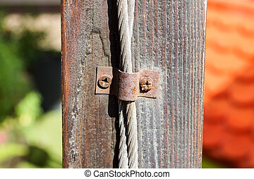 fin, corde métallique, crampon, haut, acier