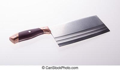 fin, couperet, viande, fond, haut
