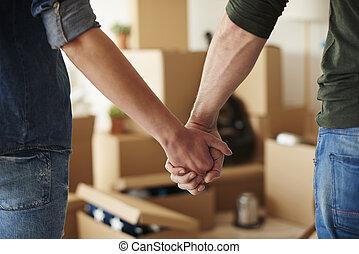 fin, couple, haut, tenant mains