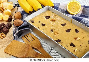fin, cru, pain, haut, banane