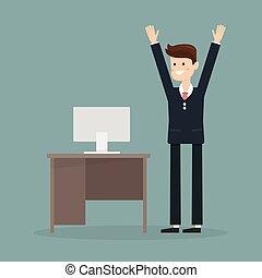 fin, cuándo, vector, month., hombre de negocios, feliz