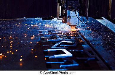 fin, découpage, laser, haut