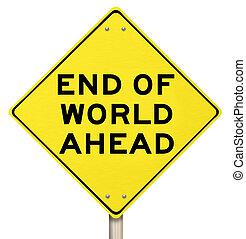 fin, -, días, signo amarillo, advertencia, apocalipsis