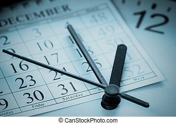 fin, de, año, agenda, azul entonado