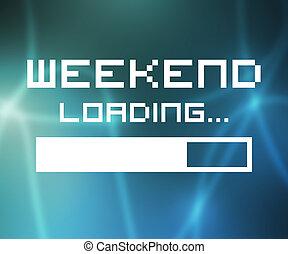 fin de semana, carga, pantalla