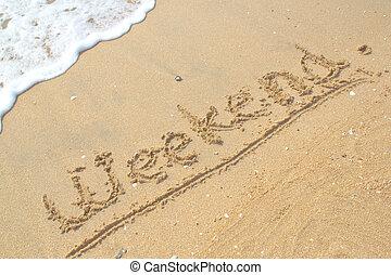 fin de semana, en, el, playa.