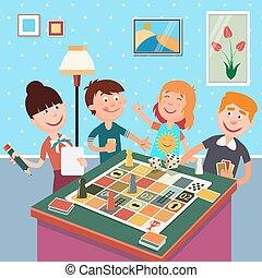 fin de semana, game., feliz, juego, familia , tabla