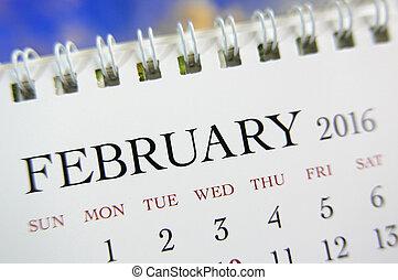 fin, février,  2016, haut, calendrier
