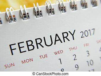 fin, février,  2017, haut, calendrier