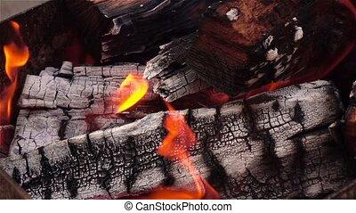 fin, firewoods., cheminée, haut, brûlé