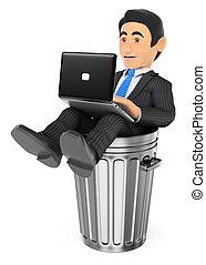 fin, fonctionnement, ordinateur portable, dustbin., mort, métier, homme affaires, 3d