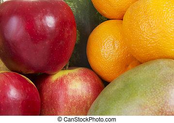 fin, fruits., haut, frais