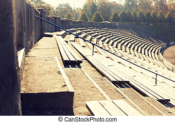 fin, gradins, bancs, stade, haut