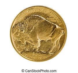 fin, guld, buffel, guldmynt, vita, bakgrund