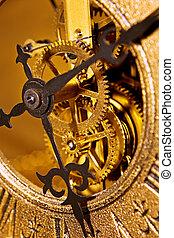 fin, horloge, vieux, haut, vue