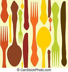 fin, illustration., modèle, seamless, knifes., cuillères, ...