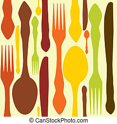 fin, illustration., patrón, seamless, knifes., cucharas,...