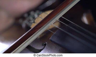 fin, jouer, violoncelle, haut